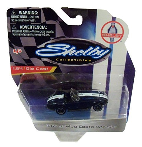 - Shelby Collectibles Officially Licensed Ford 1:64 Die-cast Vehicle ~ 1965 Shelby Cobra 427 S/C Convertible (Dark Blue with Dual White Racing Stripes)