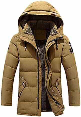 CELINO Mens Faux Fur Lined Utility Jacket Lightweight Hooded Winter Coat LightKhaki Large