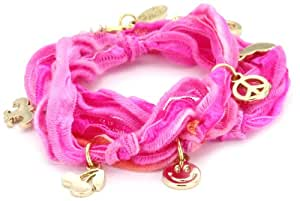Ettika Fuchsia Knotted Vintage Ribbon Wrap Bracelet with Gold Colored Charms