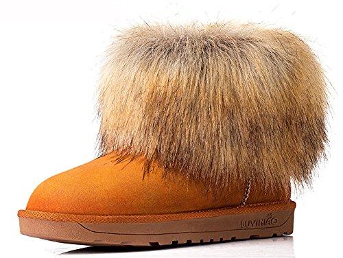 Idifu Kvinna Vinter Fuskpäls Platt Varma Snö Boots Rödbrun