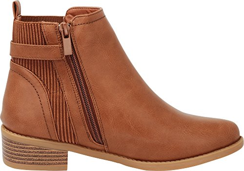 Block Bootie Pu Stacked Tan Chelsea Cambridge Chunky Heel Select Women's Low Knit Stretch Ankle gP0Rpq