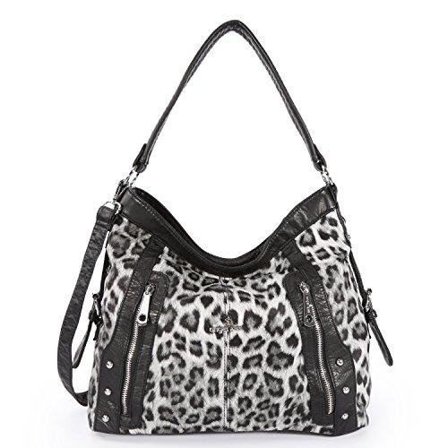 Angelkiss Leopard Pattern Handbags Two Top Zippers Shoulder Handbags 2018 by Angel Kiss