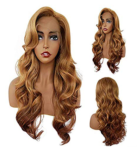 Fashion Blonde Lace Front Wigs Honey Blonde Natural Middle Part Synthetic Wigs INYOU Half Hand Tied Heat Resistant Hair Wig for Women (Wig Beautiful)