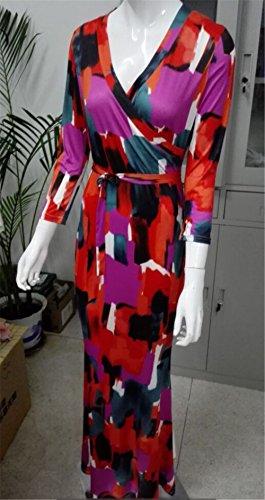 Vestido Otoño 3 Casual Verano Dama Rojo Noche clothing Cóctel Manga Mujer V Vestidos Dress 4 Estrechos les Fiesta Partido Maxi COCO Boho Cuello de 51Bwxq8Y8