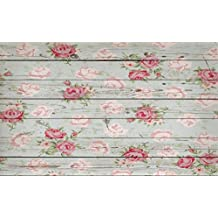 Leowefowa 5X3FT Floral Backdrop Shabby Chic Flowers on Nostalgia Stripes Wood Floor Backdrops for Photography Interior Tv Wall Decoration Photo Background Girls Lover Happy Mother's Day Studio Props