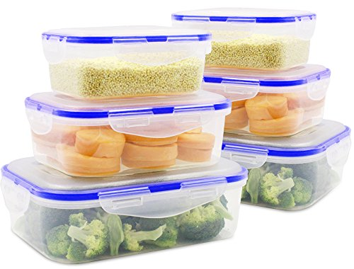 MEAUOTOU Food Storage Containers, BPA Free Plastic Container Set for Kicthen, 6pcs