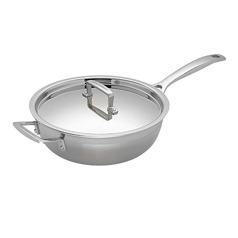 Le Creuset 3-Ply Sartén Sauté antiadherente con tapa, Ø 24 cm, acero inoxidable, libre de PFOA, para todo tipo de fuentes de calor (incl. inducción), ...