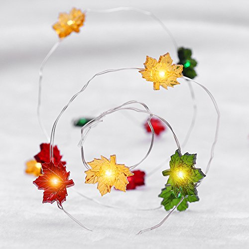 YUNLIGHTS Autumn Leaf String Lights 40 LEDs with 7 Modes 9.8ft Copper Wire,String Lights Battery Powered for Thanksgiving and Birthday Party Decoration