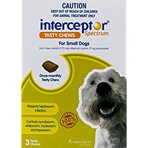 Interceptor® Spectrum Tasty Chews for Small Dogs 4-11kg (Green) – 3 Pack Click on image for further info.
