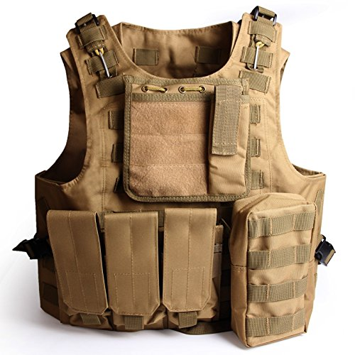 Plate Carrier Vest (SOLOMONE CAVALLI Tactical Molle Combat Vest Airsoft camouflage Police Fully)