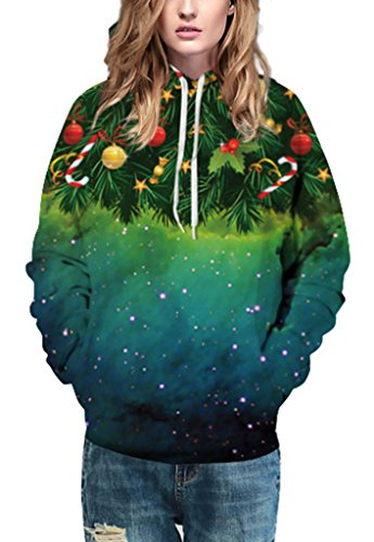 Pretty321 Women Girl 3D Fun Christmas Day Gift Hoodie Sweatshirt Collection Unisex Green Christmas Tree