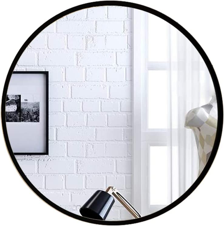 whitebeach Circle Black Wall Mirror,31Inch Round Wall Mirror for Entryways, Washrooms, Living Rooms Metal Frame Brushed LargeMirror for Wall Decor Vanity Mirror