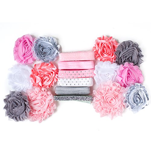 Check Ballerina - Ballerina : Pink Grey & Silver Flower Headband Kit MAKES 6-12 Unique Hair Pieces : Shabby Chiffon Craft Roses Elastics : Pastel Colors Parties & Baby Showers (Small (12 Flowers))