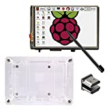 KOOKYE 3.5'' Touch Screen LCD Display Monitor with Transparent Case Stylus for Raspberry Pi 3 2 Model B (3.5HDMI LCD + Case)
