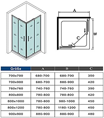 Mampara de Ducha Angular cabina de ducha mampara de ducha cuadrada Puerta Corredera Cristal 5 MM perfilería gris mate 90x80x185cm: Amazon.es: Bricolaje y herramientas