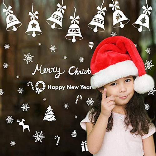 Amidaky 190PCS Christmas Snowflakes Window Clings Decal Glueless PVC Wall Stickers Winter Wonderland White Decorations Home Decor Ornaments Holiday Party Supplies (6 Sheets)]()