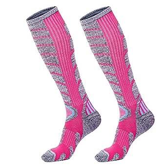 Warm Skiing Socks High Performance Snowboard Socks in Outdoor Ski Socks Fit for Mens Womens (2 Pairs Pink, Medium)