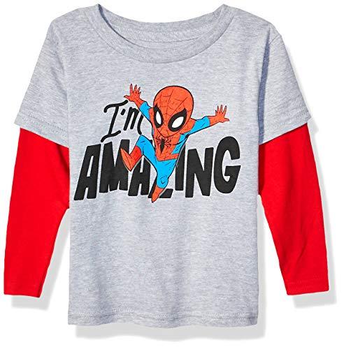 Marvel Spiderman Boys' Toddler Amazing Spider-Man Avengers Long Sleeve Doubler T-Shirt, Heather Grey/Red, 2T (The Amazing Spider Man Long Sleeve Shirt)