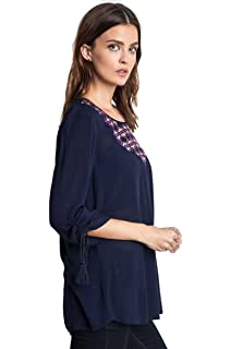 824e6c05 Umgee Women's Blue Plaid Button up Western Long Sleeve Tunic Top ...