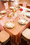 QueenDream sequined tablecloth 60''x102''rose gold sparkly sequin fabric Wedding Tablecloth Sequin Luxury Linens Circle Table Cover