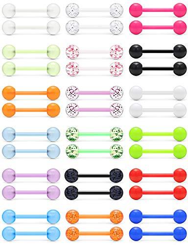 Ftovosyo 14G 16mm Glow in Dark Flexible Acrylic Straight Tongue Nipple Ring Retainer Body Piercing Jewelry for Women Men 36PCS Mix Color Bioflex Plastic Acrylic Nipplering