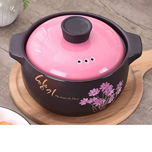 GJJ High Temperature Heat-.Resistant Ceramic Soup Pot Casserole, Natural Health Casserole, Pot Ceramic Pot,Black,3 Liters by GJJ (Image #2)