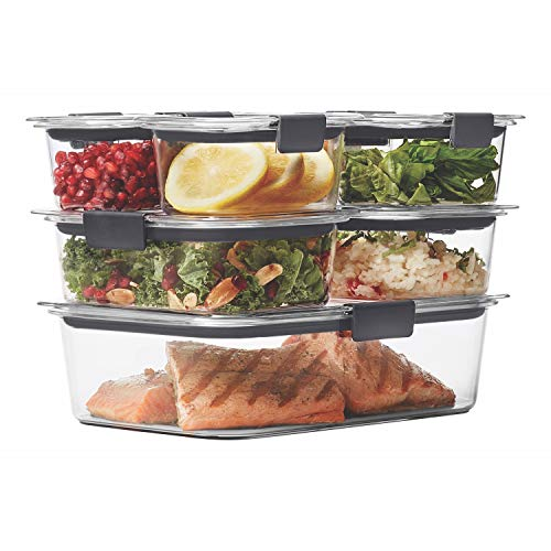 Rubbermaid 1977447 Leak-Proof Brilliance Food Storage Container, BPA-Free Plastic, 14-Piece Set, - Sunset Over Glass