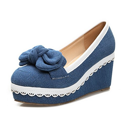 Pumps Toe Solid Round Darkblue 4 Heel Material UK Wedge PU Bowknot Soft Closed with 5 Womens High Platform VogueZone009 tq7HFP