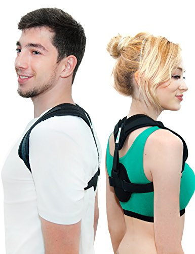 Straight Harness (Posture Corrector for Women Men - Upper Back Support Clavicle Shoulder Brace Thoracic Kyphosis - Improve Bad Posture Alignment Fix Back Pain + Exercises and Stretch Band by VIMFIT)