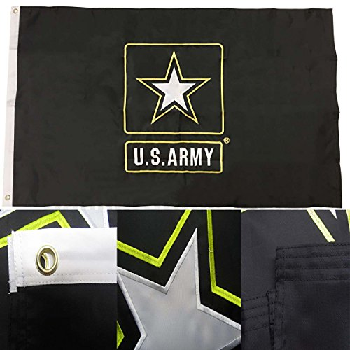 U.S. Army Star Logo - ( 3 by 5 Foot 3x5 Ft ) Strongest Embroidered Double Sided 210D Nylon, Double Sewn Stripes and Brass Grommets, UV Protected, Double Decker U.S. Flags Military ()
