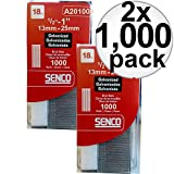 Senco A201009 1,000pk Electro Galvanized Brads 18 Gauge x 1'' 2-Pack