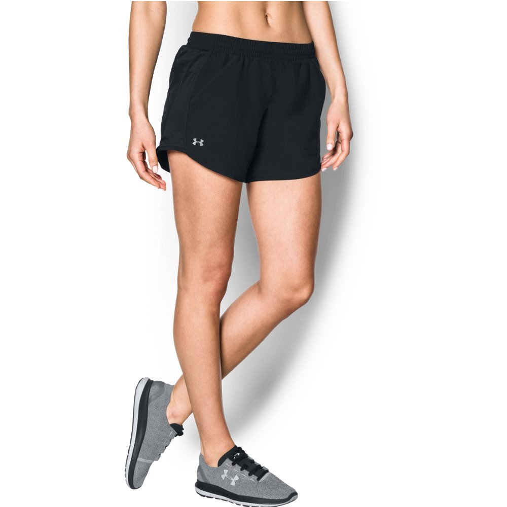 Under Armour Women's Fly-By Shorts, Black/Reflective, X-Large