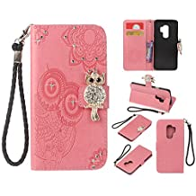 Glitter Diamond Wallet Samsung Galaxy S9 Case,Ostop Pink PU Leather Embossed Flower Luxury Stand Purse,3D Owl Bling Rhinestone Crystal Magnetic Closure Flip Cover,Credit Card Holder Shell