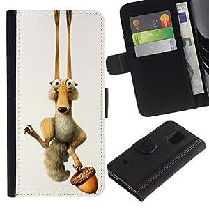 EJOY---Tirón de la caja Cartera de cuero con ranuras para tarjetas / Samsung Galaxy S5 V SM-G900 / --ICE DIVERTIDO DE LA HISTORIETA ARDILLA