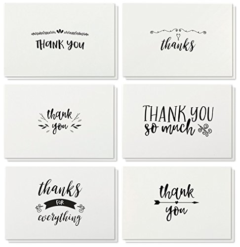 Thank You Cards - 36-Count Thank You Notes, Kraft Paper Bulk Thank You Cards Set - Blank on The Inside, Handwritten Style - Includes Thank You Cards and Envelopes, 4 x 6 inches by Best Paper Greetings