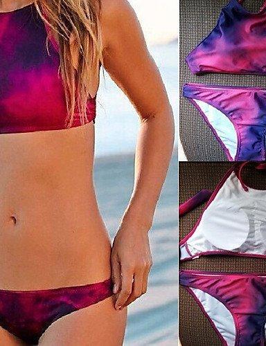 ZQ Top de la mujer bikinis, color block inalámbrico/SUJETADOR Padless de nailon/spandex rojo, red-m, medium red-m
