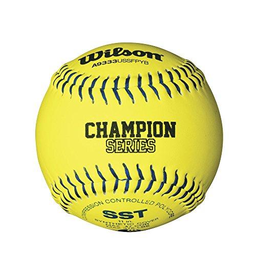 Wilson USSSA Series Synthetic Leather Softball (1 Dozen), Optic Yellow, 11-Inch