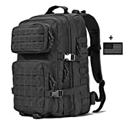 VVEFFO Military Tactical Backpack Large 3 Day Assault Pack Army Molle Bug Out Bag Backpacks Hunting Rucksacks 40L Black
