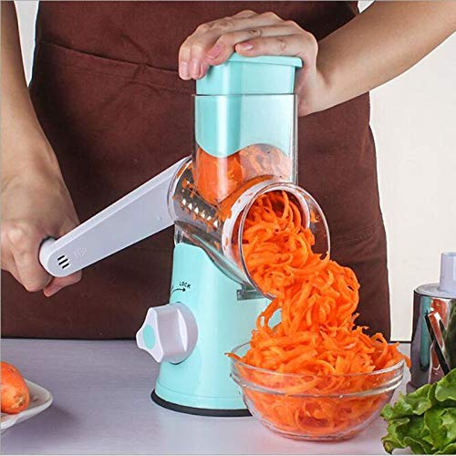 Round Handheld Slicer Vegetable Cutter Manual Potato Julienne Carrot Slicer Cheese Grater Stainless Steel Blades Kitchen Tool