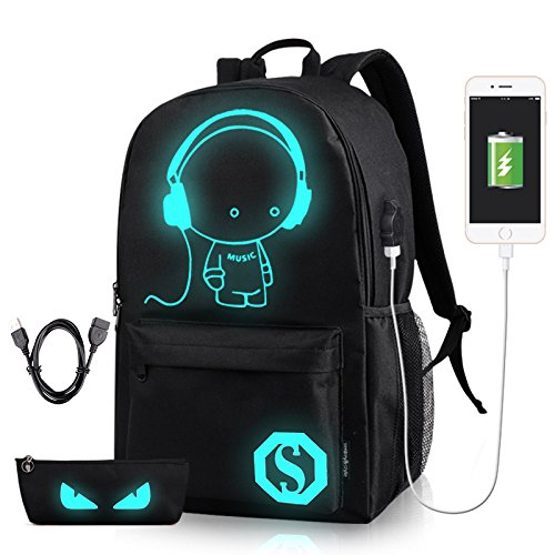 GAOAG Anime Luminous Backpack Daypack Shoulder Under 15.6-inch with USB Charging Port and Lock School Bag Black by GAOAG (Image #1)