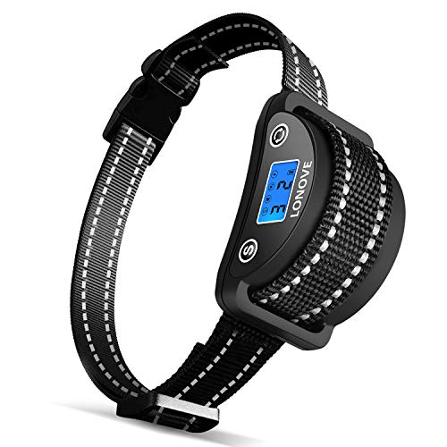 LONOVE Anti Bark Collar - Dog Anti Barking Collar No Bark Collar Dog Anti-Bark Control Device Rechargeable Dog Training Collar with Beep Vibration Harmless Shock for Small Medium Large Dogs