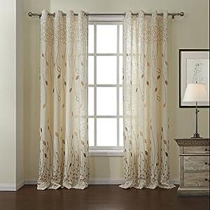 Amazon.com: Leyden Grommet Top Print Leaf Curtain Drapes