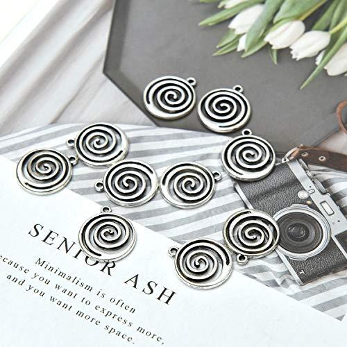 Monrocco 50pcs Silver Metal Spiral Beads Round Swirl Spiral Charm for Jewelry Making DIY Bracelet 19x16mm