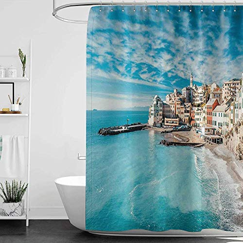 homecoco Shower Curtains sea Shells Italy,Panorama of Old Italian Fishing Village Beach in Old Province Coastal Charm Image,Turquoise W72 x L72,Shower Curtain for Shower stall