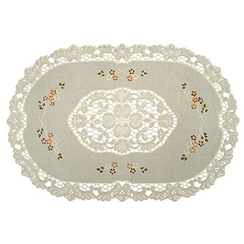 Seneca Vinyl Lace Placemats (Set of 2) Oval 12 X18 Inches - Washable Elegant Place Mats for Dining Table or Restaurant - Waterproof Decorative Table Protection | Easy To Care and Reusable