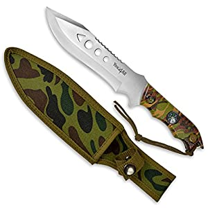 Yes4All MH-H150 Hunting Survival Fixed Blade Knife / Tactical Knife with Sheath – Full Tang Camping Knife Set – Hunting Dagger Knife / Tactical Dagger