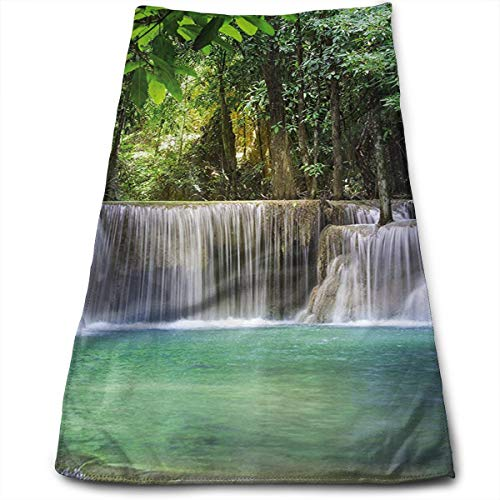 ASDGEGASFAS Mountain Stream Forest Foliage Microfiber Hand Towel Water Absorbent Soft Polyester Lightweight Travel Towel,Bath Sheet for Bath Hand Face Hair Gym and Spa ()