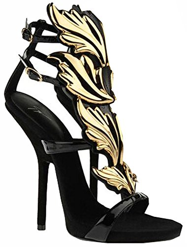 Chaussures Haut Marque Femmes Sandales Blanc Sexy Coin Or La Noir Mode Feuille Pompes D'été Talon Flamme Wing Plat De wHqFFE