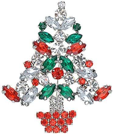 Fashion Rhinestone Crystal Xmas Tree Pin Party Holiday Wedding Gift Brooch Gift   Main Colour - Red