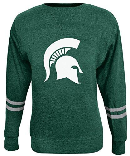 (Alta Gracia NCAA Michigan State Spartans Women's Crew 50/50 Fleece Top, Green, Large)